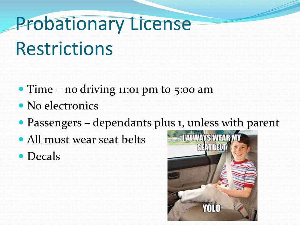 Probationary License Restrictions