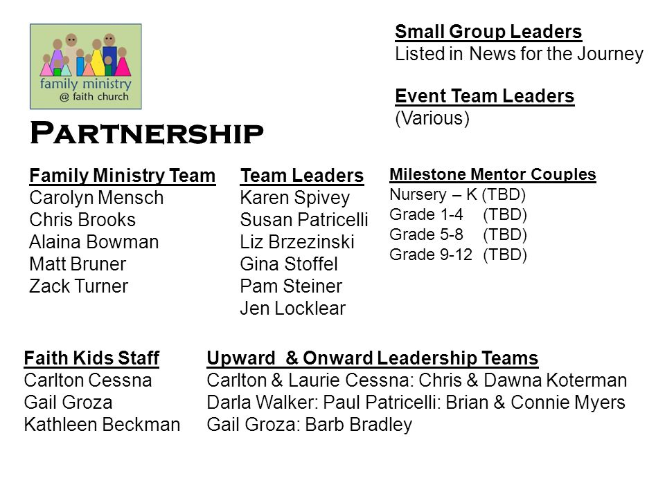 Partnership Small Group Leaders Listed in News for the Journey