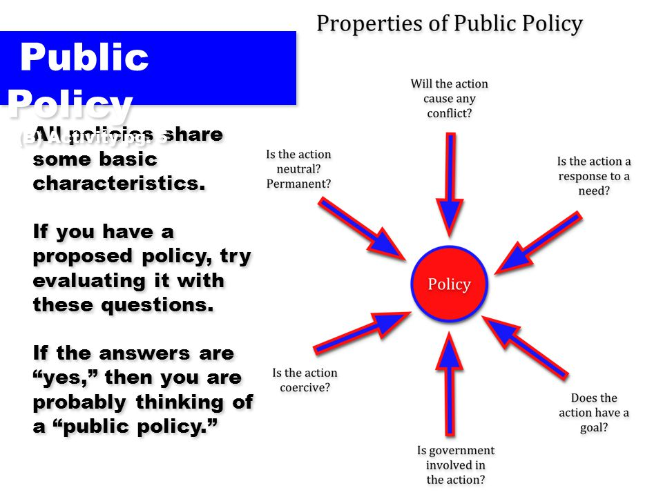 Public Policy All policies share some basic characteristics.