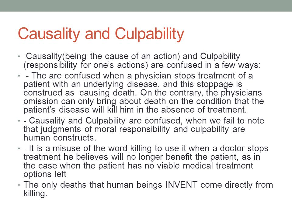 Causality and Culpability