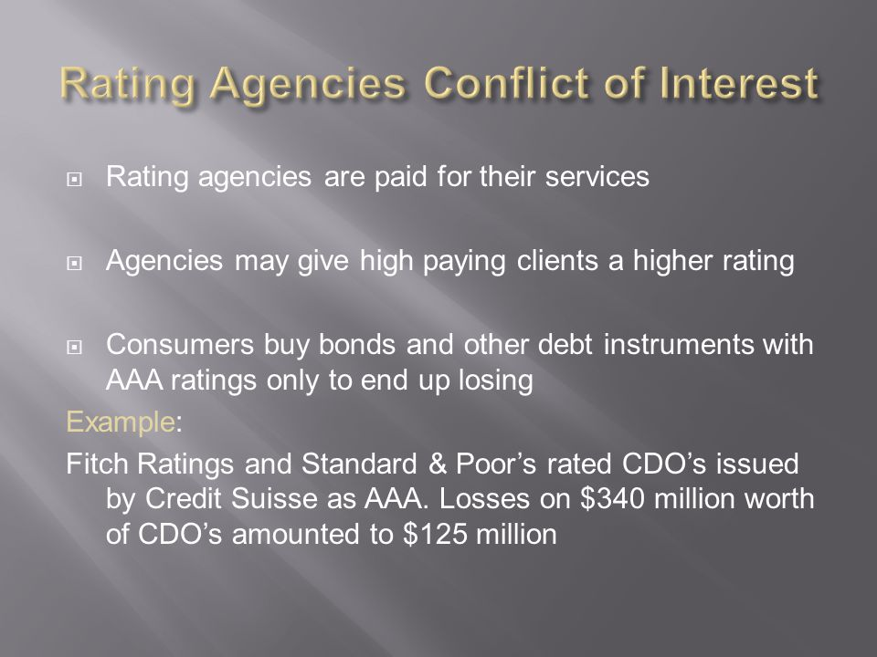 Rating Agencies Conflict of Interest