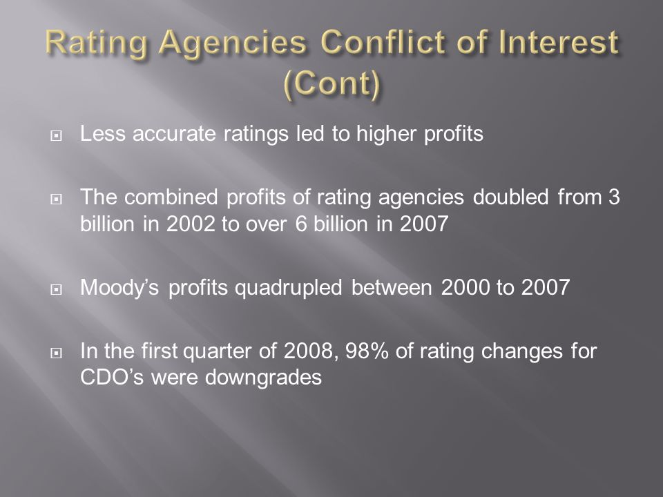 Rating Agencies Conflict of Interest (Cont)