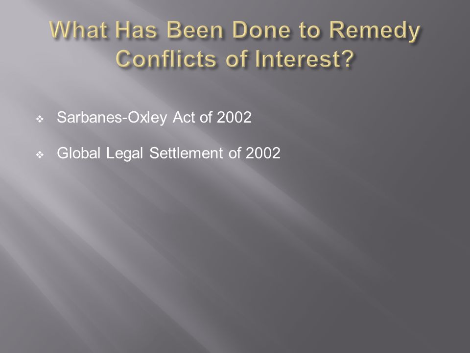 What Has Been Done to Remedy Conflicts of Interest