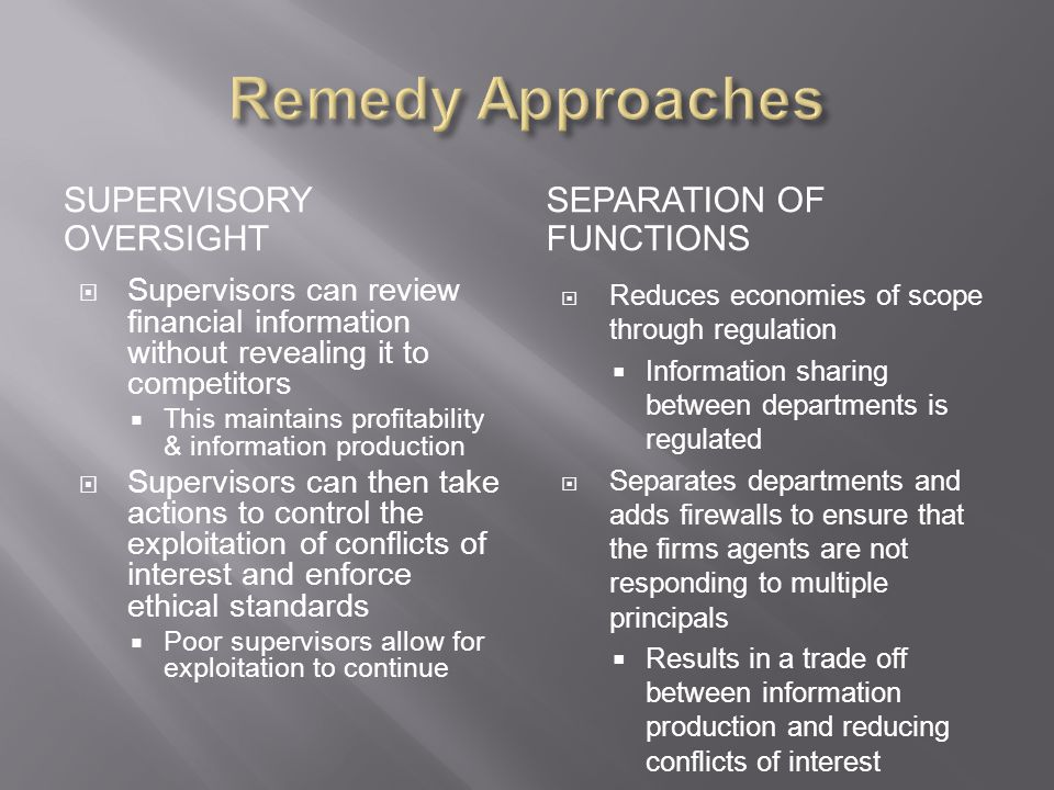 Remedy Approaches Supervisory Oversight Separation Of Functions