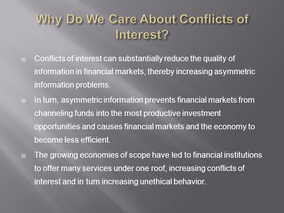 Why Do We Care About Conflicts of Interest