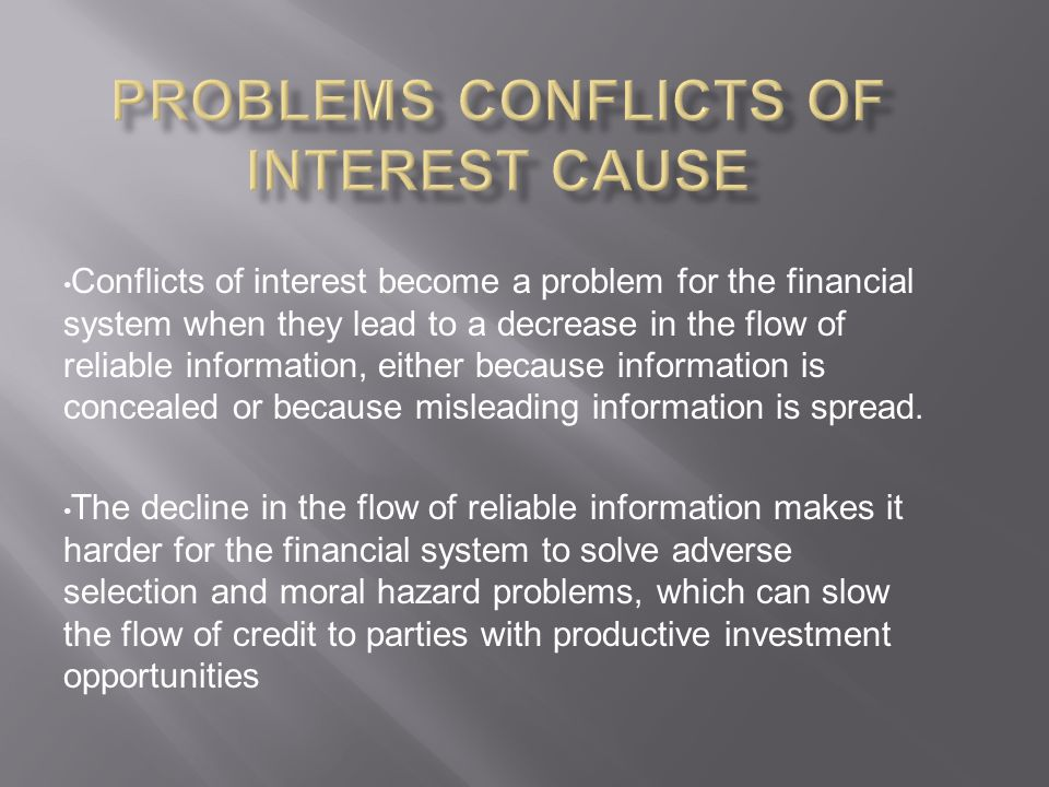 Problems Conflicts of Interest Cause