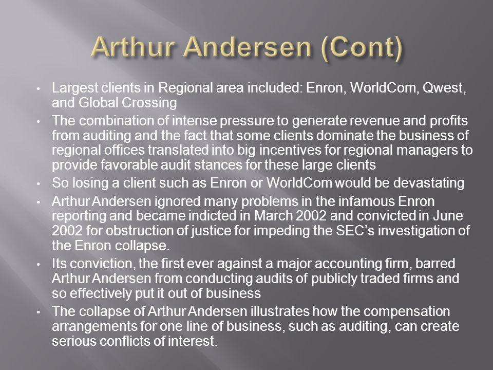 Arthur Andersen (Cont)
