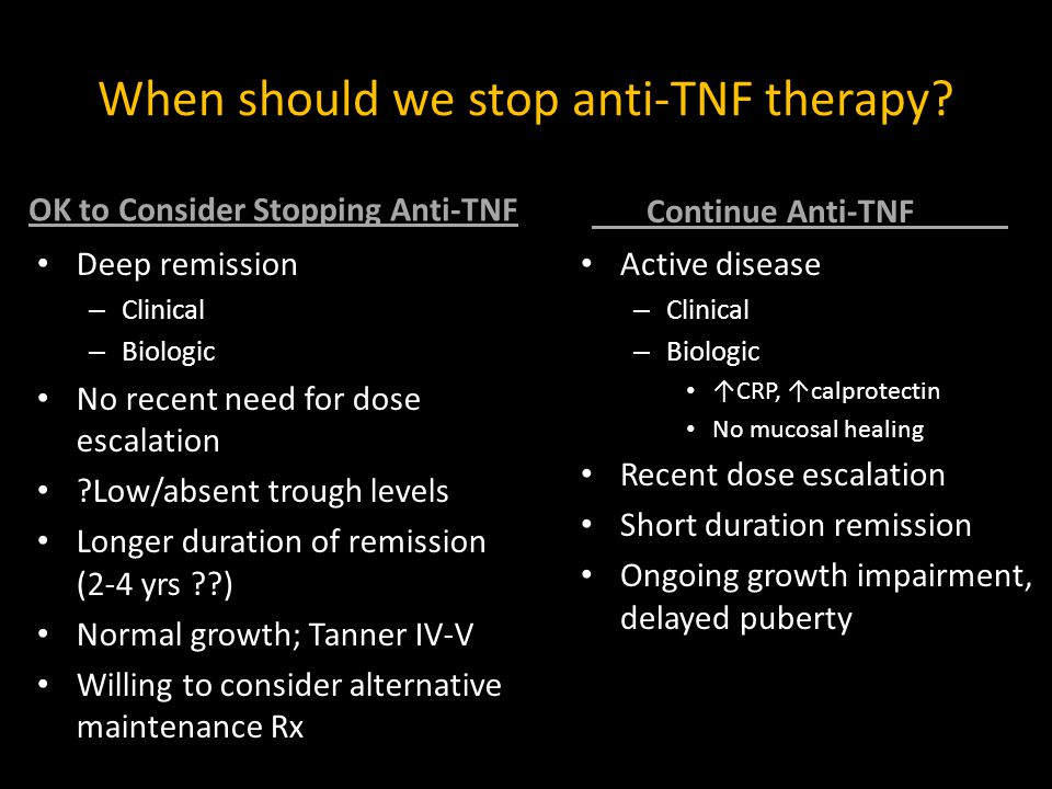 When should we stop anti-TNF therapy