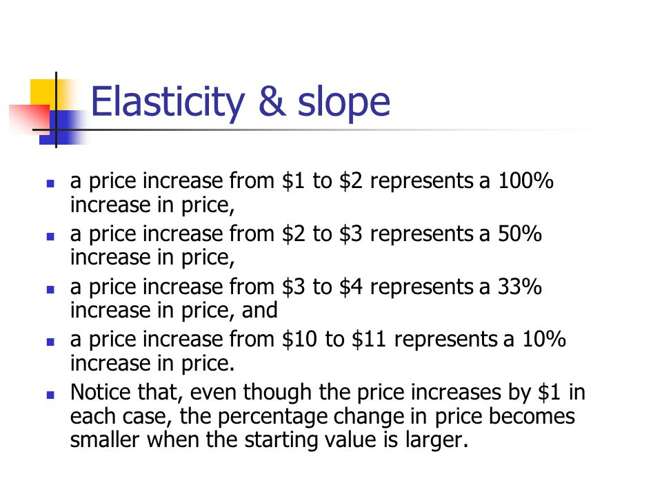 Elasticity & slope a price increase from $1 to $2 represents a 100% increase in price,