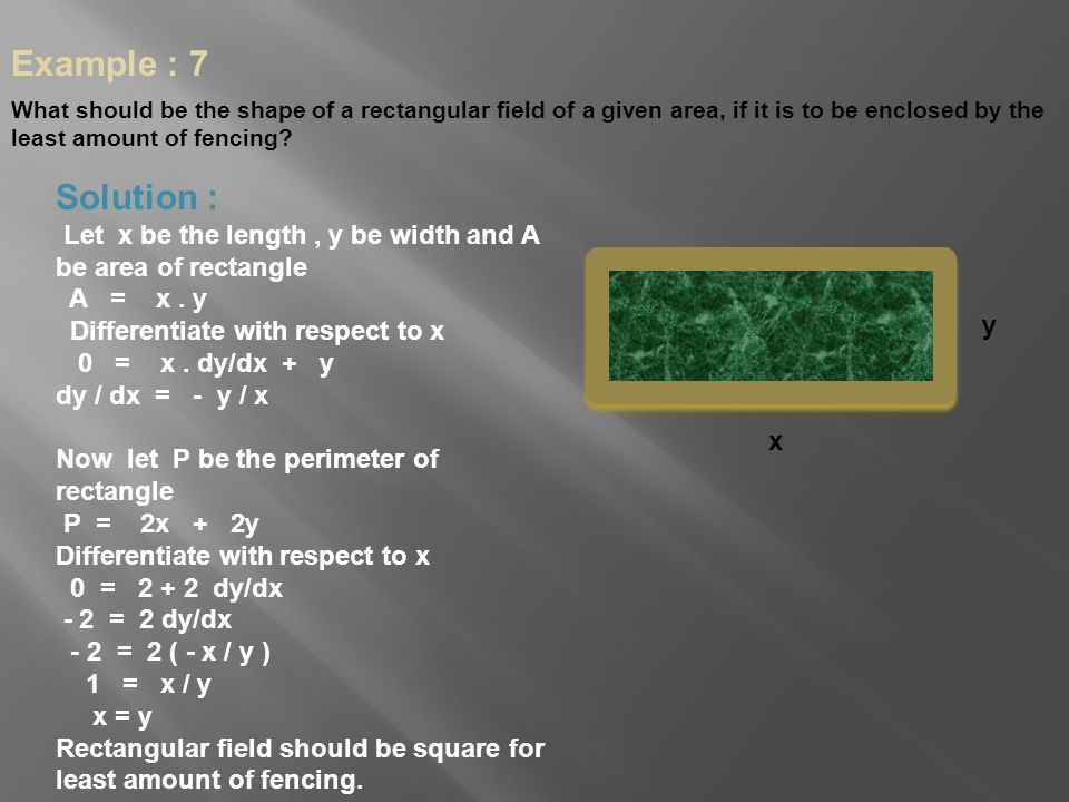 Example : 7 What should be the shape of a rectangular field of a given area, if it is to be enclosed by the least amount of fencing
