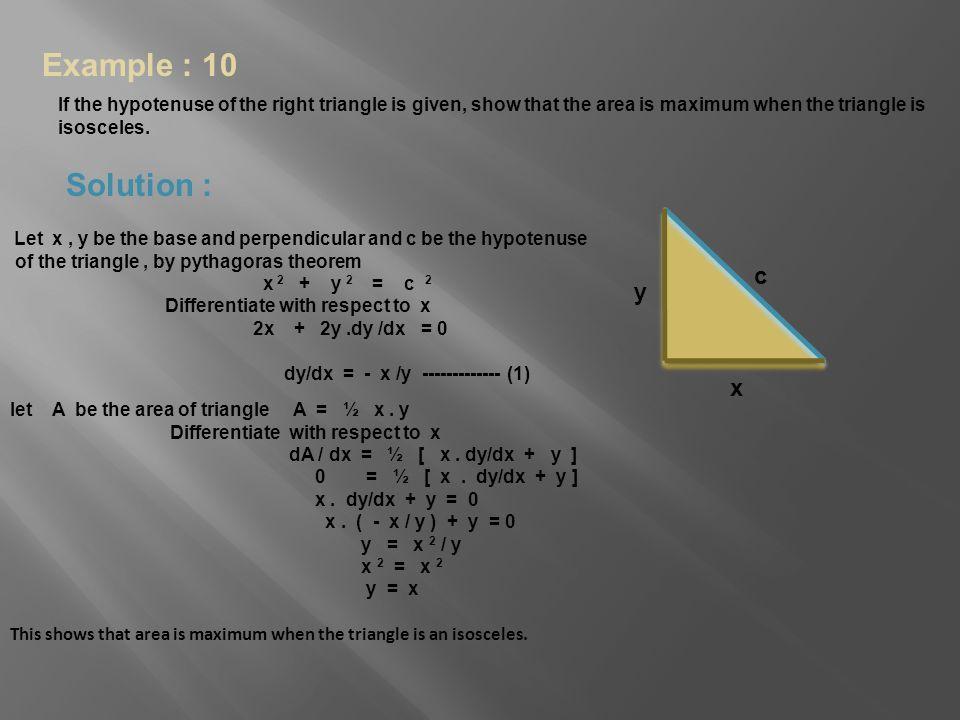 Example : 10 Solution : c y x