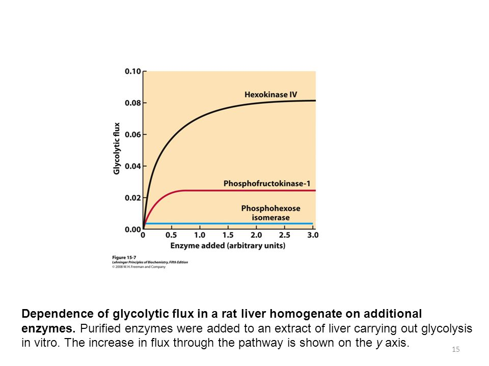 FIGURE 15-7 Dependence of glycolytic flux in a rat liver homogenate on added enzymes. Purified enzymes in the amounts shown on the x axis were added to an extract of liver carrying out glycolysis in vitro. The increase in flux through the pathway is shown on the y axis.