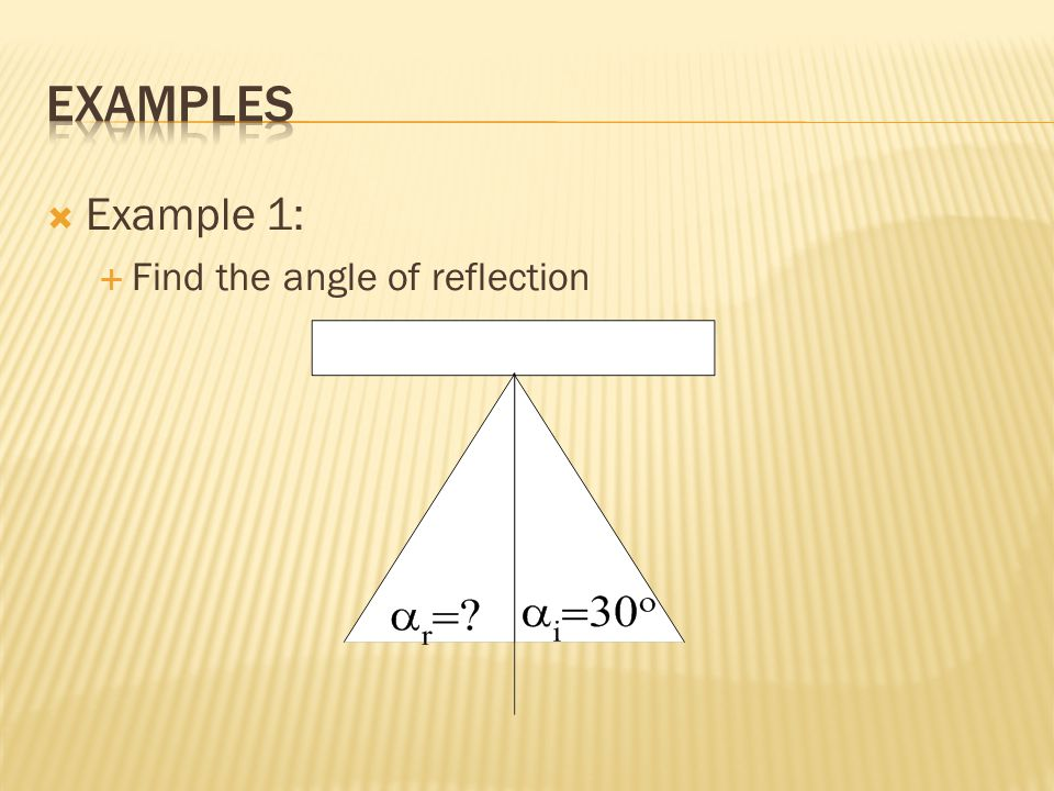 EXAMPLES Example 1: Find the angle of reflection