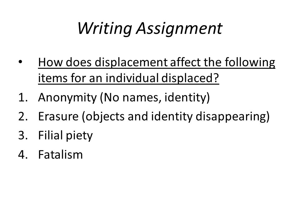Writing Assignment How does displacement affect the following items for an individual displaced Anonymity (No names, identity)