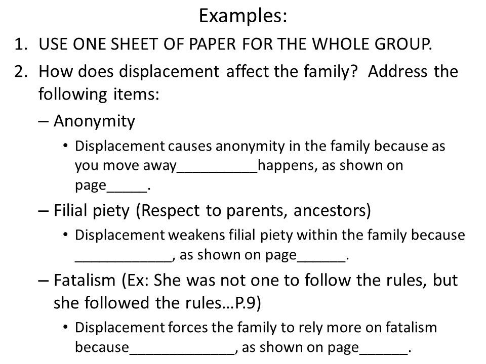 Examples: USE ONE SHEET OF PAPER FOR THE WHOLE GROUP.