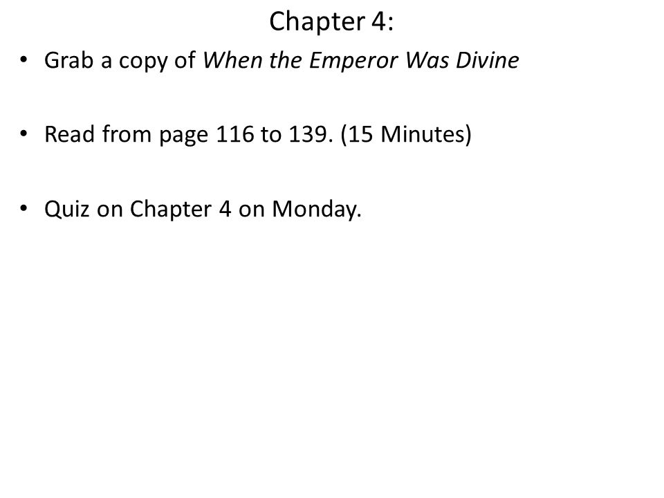Chapter 4: Grab a copy of When the Emperor Was Divine