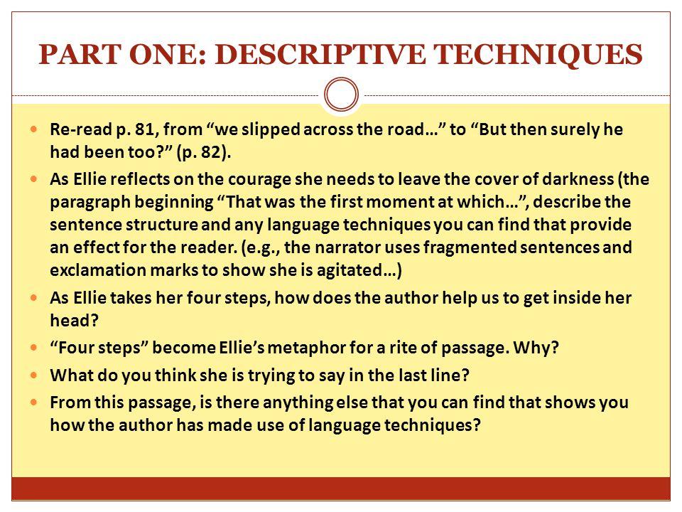 PART ONE: DESCRIPTIVE TECHNIQUES