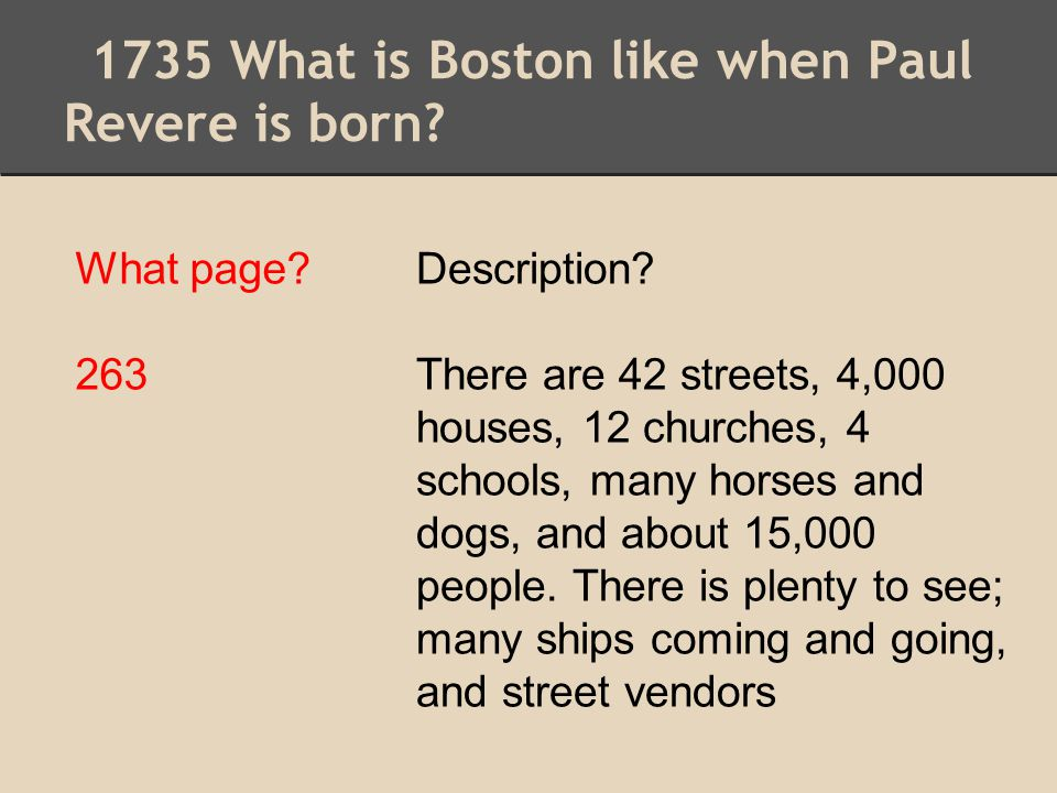 1735 What is Boston like when Paul Revere is born