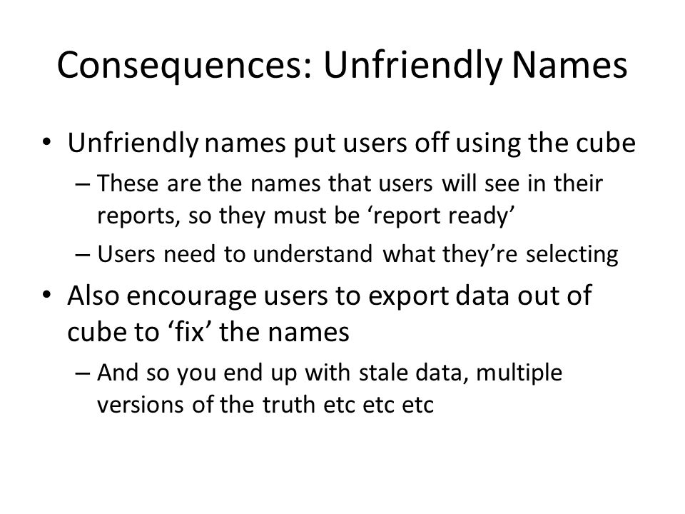 Consequences: Unfriendly Names