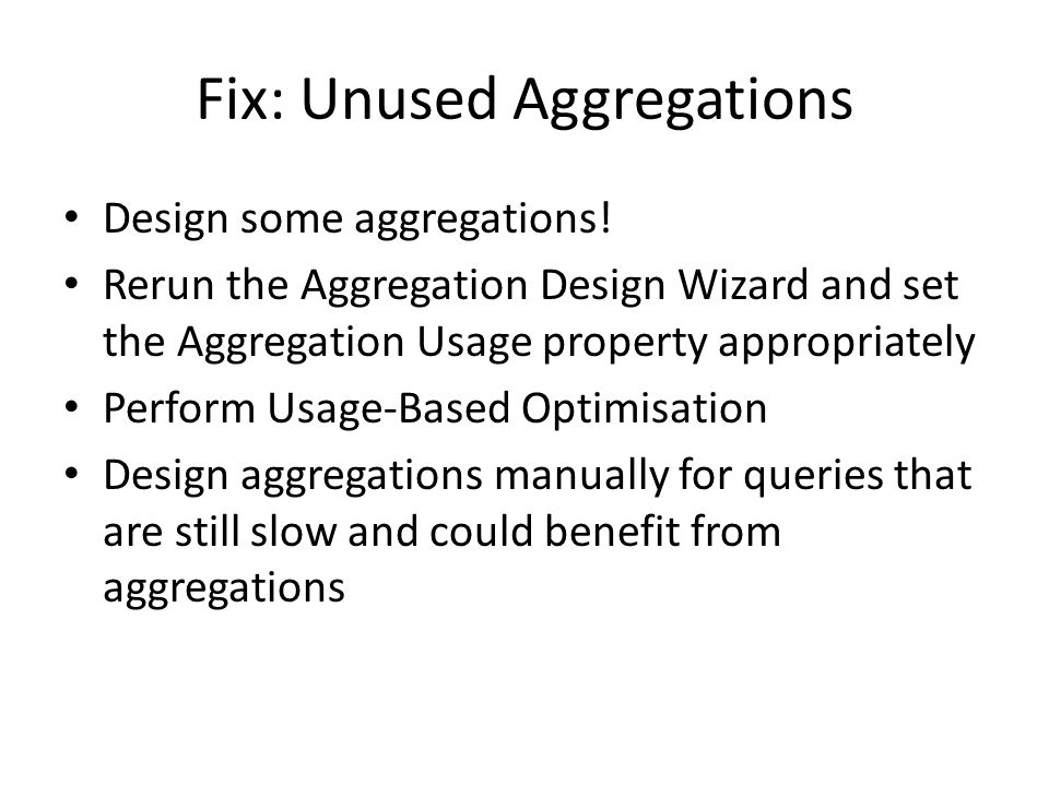 Fix: Unused Aggregations