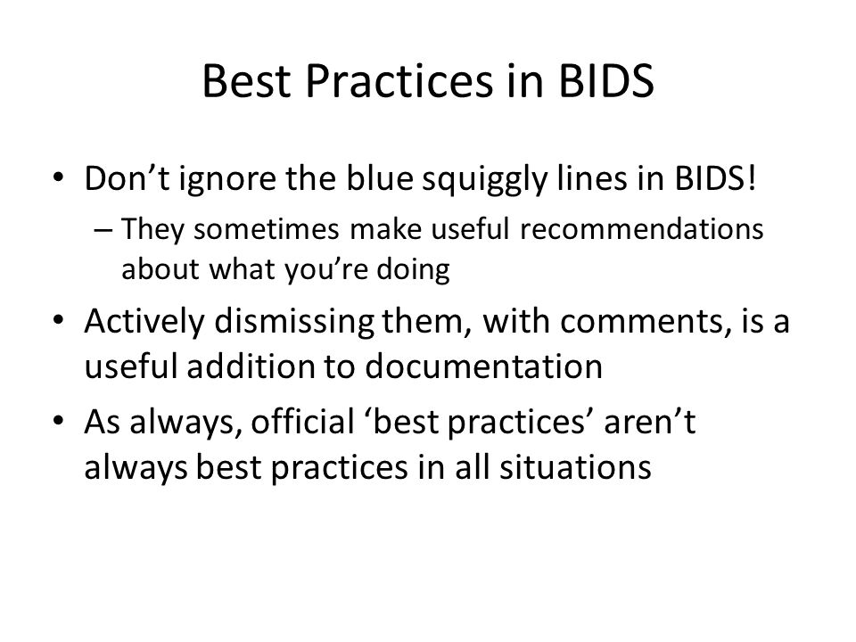 Best Practices in BIDS Don't ignore the blue squiggly lines in BIDS!
