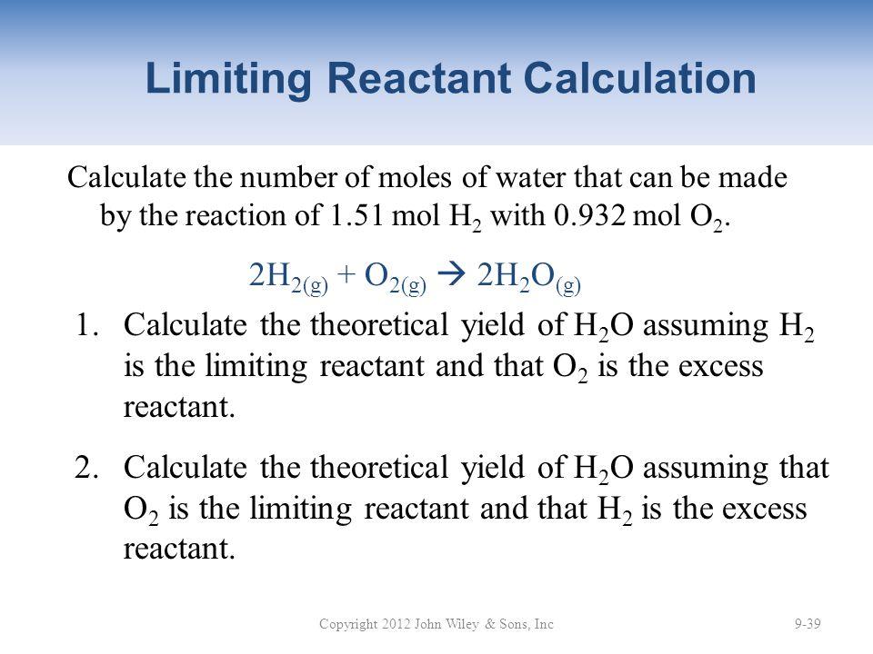 Limiting Reactant Calculation