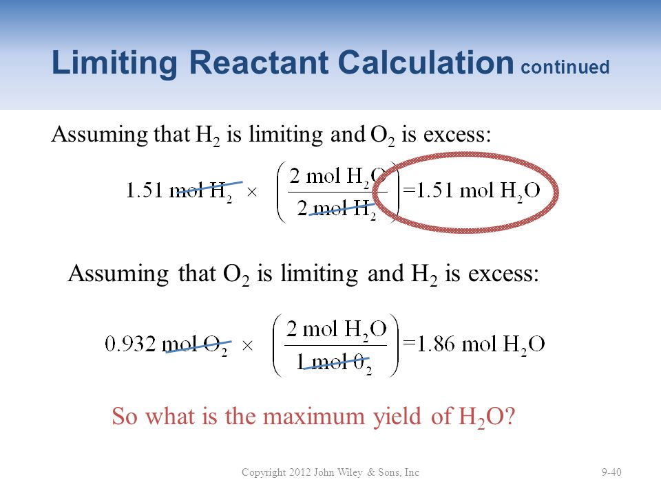 Limiting Reactant Calculation continued