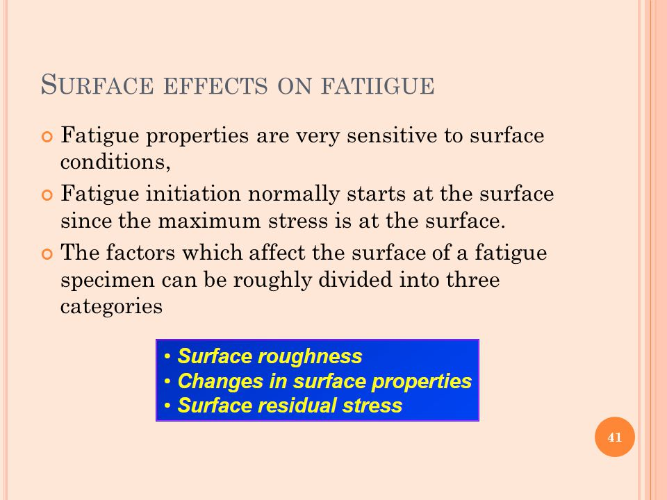 Surface effects on fatiigue