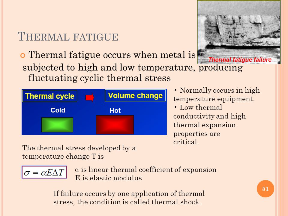 Thermal fatigue Thermal fatigue occurs when metal is