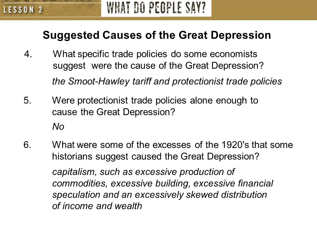causes of great depression essay Causes and effects of the great depression the great depression was a dark period in the history of theunitedstates,affecting all the socio-economic sectors of the americans' lifestyle.
