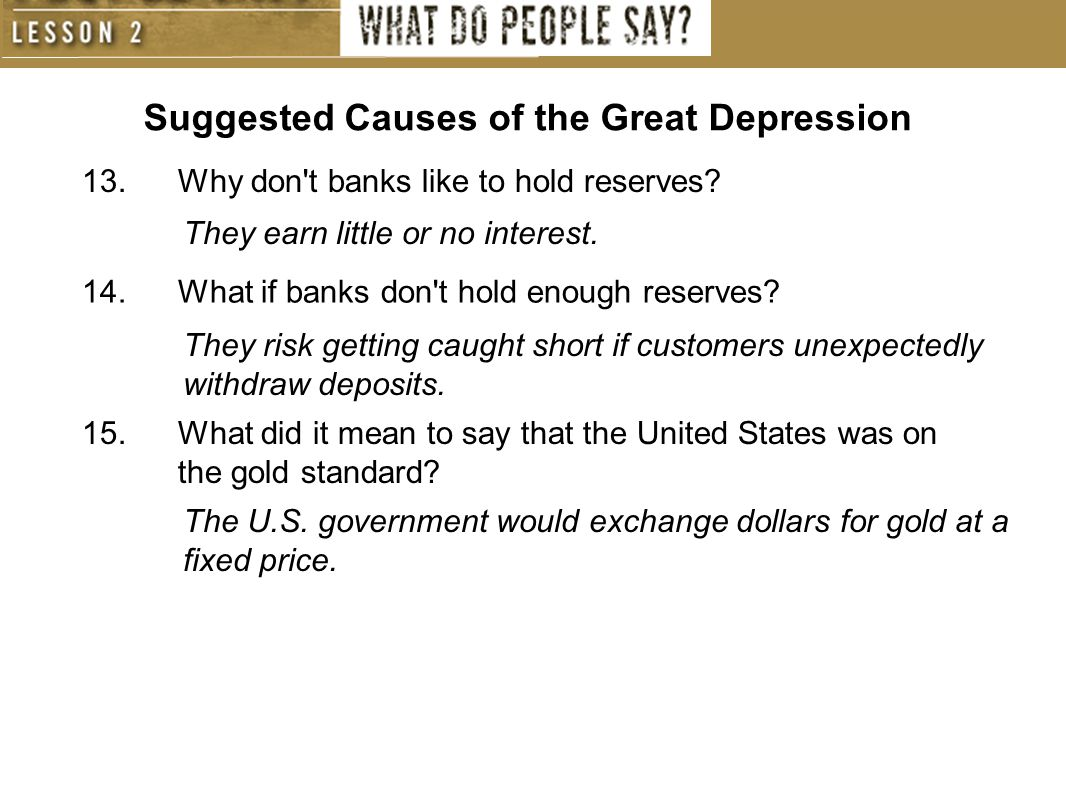 Suggested Causes of the Great Depression