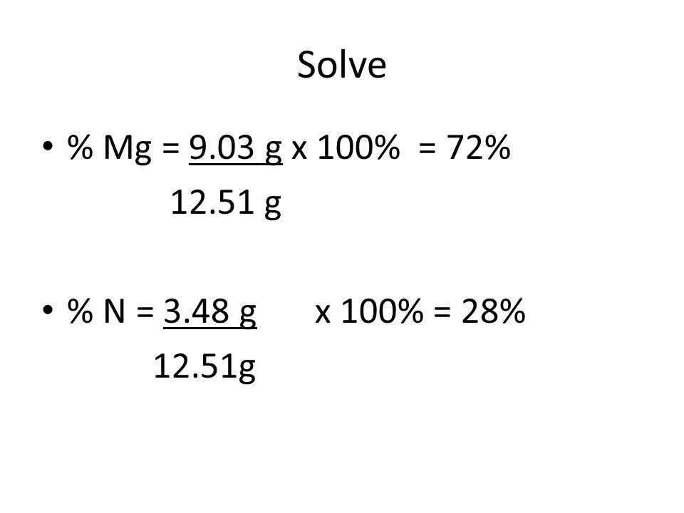 Solve % Mg = 9.03 g x 100% = 72% 12.51 g % N = 3.48 g x 100% = 28%