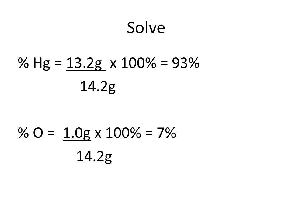 Solve % Hg = 13.2g x 100% = 93% 14.2g % O = 1.0g x 100% = 7%