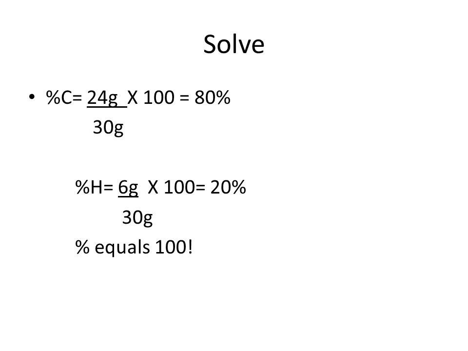 Solve %C= 24g X 100 = 80% 30g %H= 6g X 100= 20% % equals 100!
