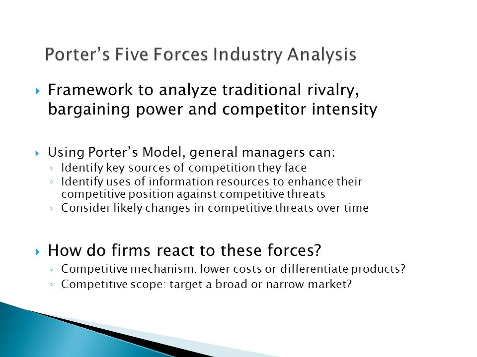 porter s five forces model to do a competitive analysis of mcdonald Do product research: analyze the competition and interview potential customers   using a porter five forces analysis is appropriate when.