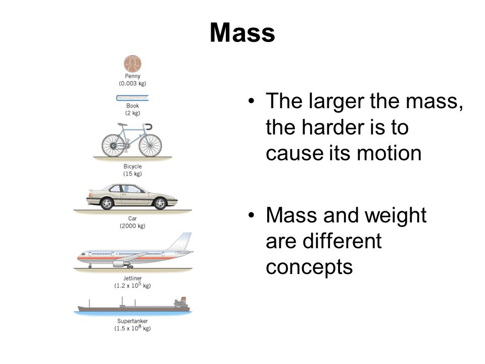 Mass The larger the mass, the harder is to cause its motion
