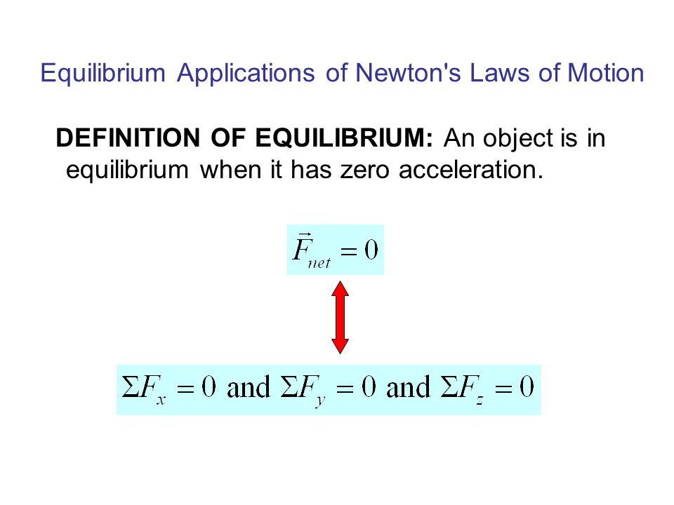Equilibrium Applications of Newton s Laws of Motion