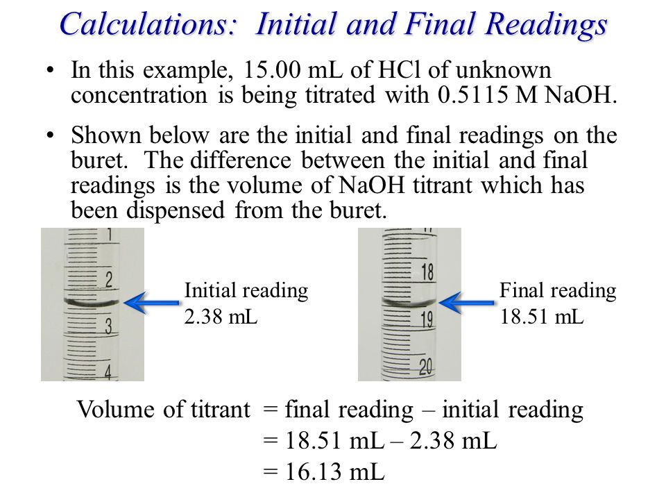 Calculations: Initial and Final Readings
