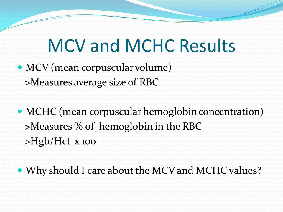 MCV and MCHC Results MCV (mean corpuscular volume)