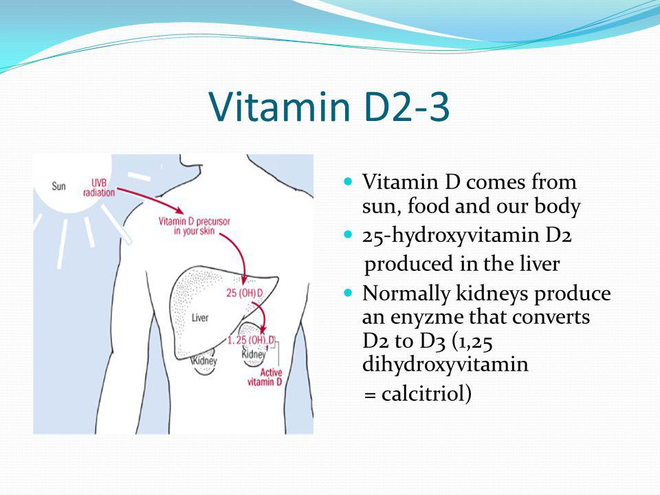 Vitamin D2-3 Vitamin D comes from sun, food and our body