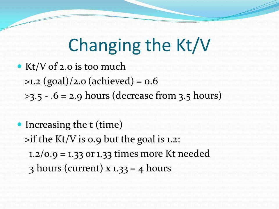 Changing the Kt/V Kt/V of 2.0 is too much