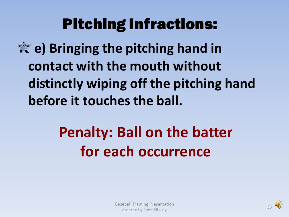 Pitching Infractions: Penalty: Ball on the batter