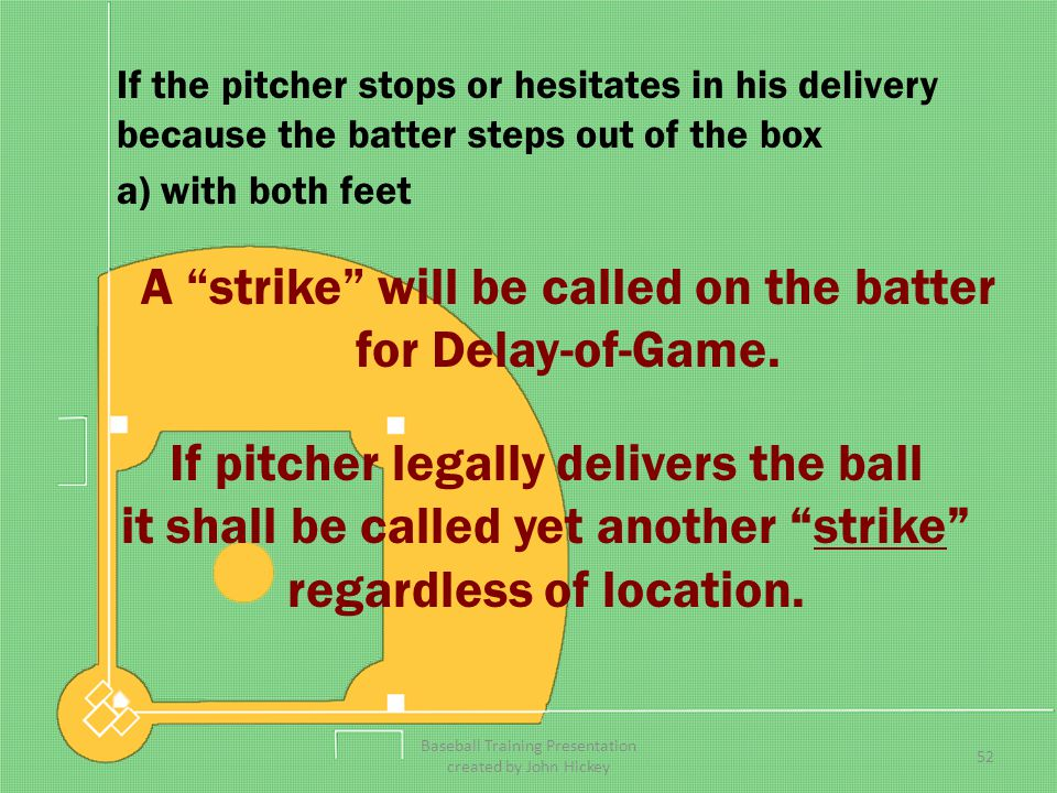A strike will be called on the batter for Delay-of-Game.