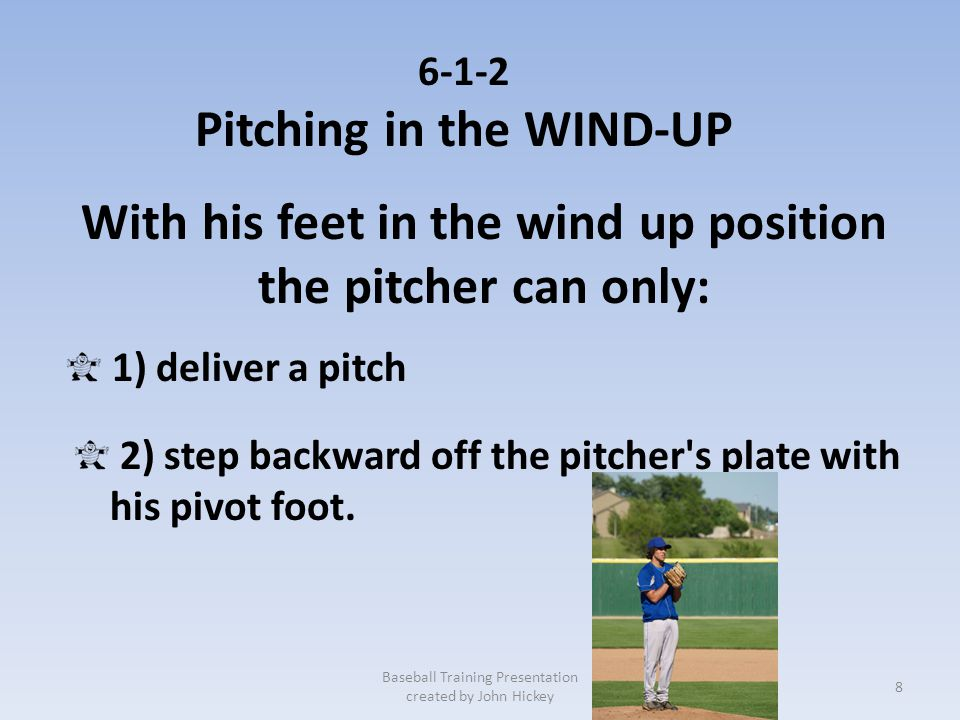 Pitching in the WIND-UP With his feet in the wind up position