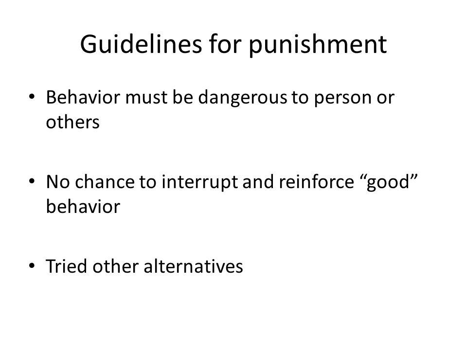 Guidelines for punishment