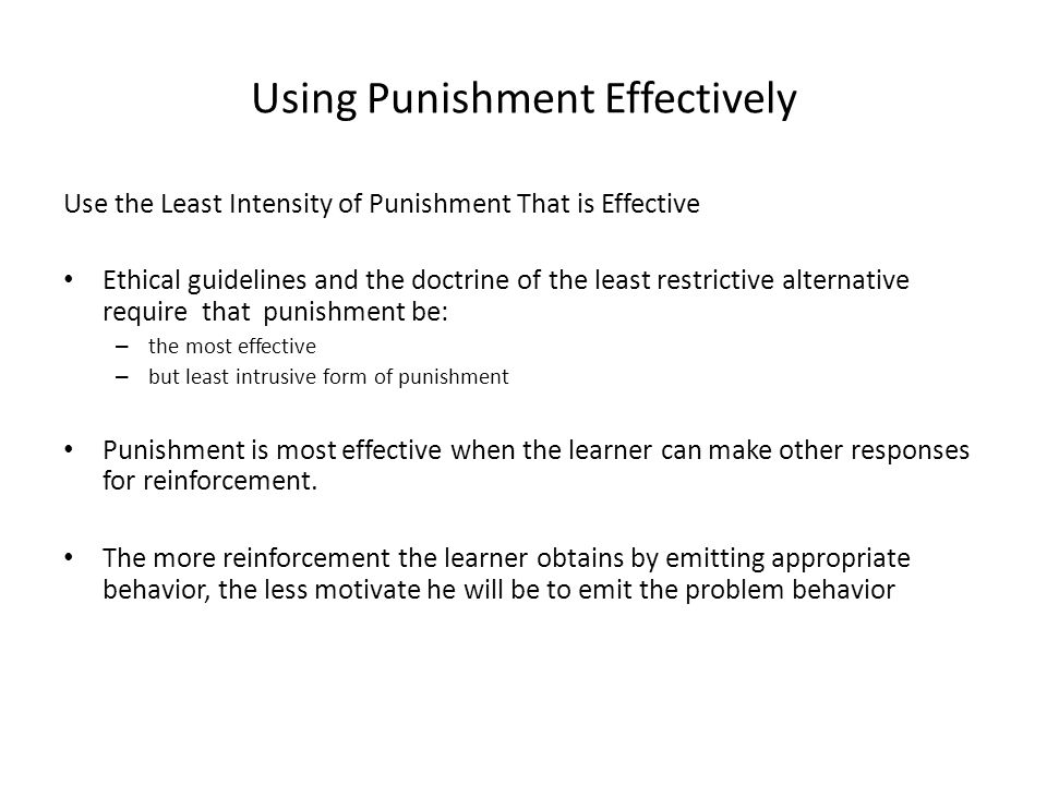 Using Punishment Effectively