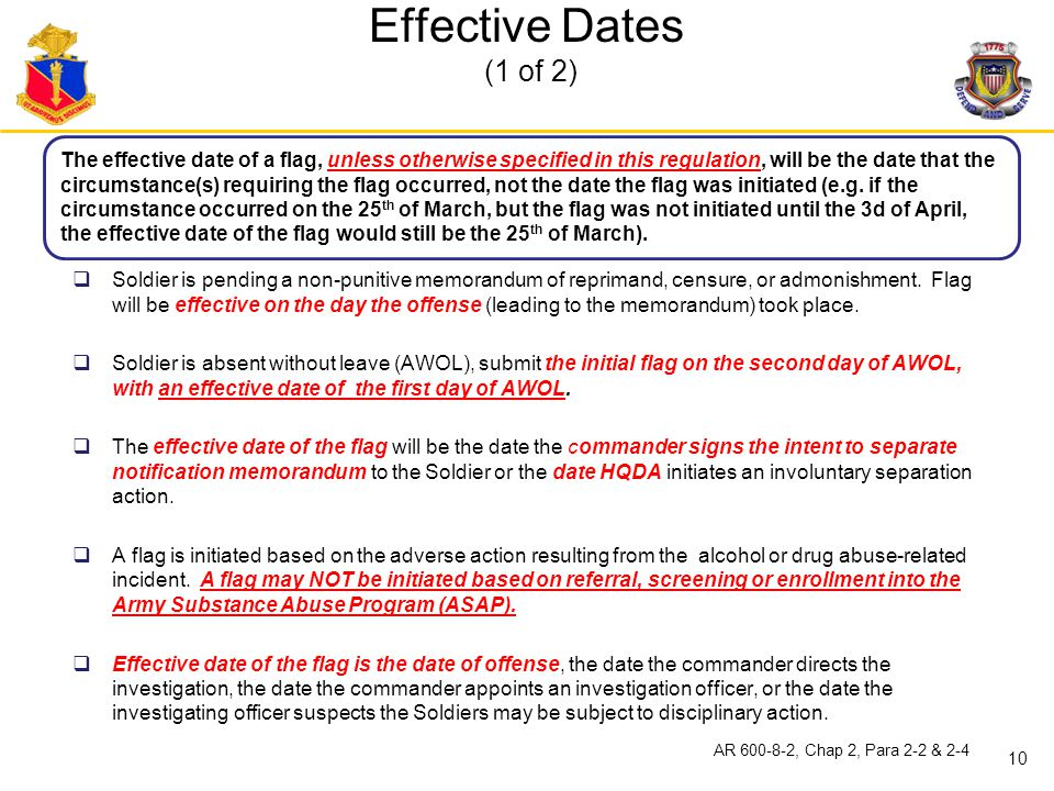 Effective Dates (1 of 2)