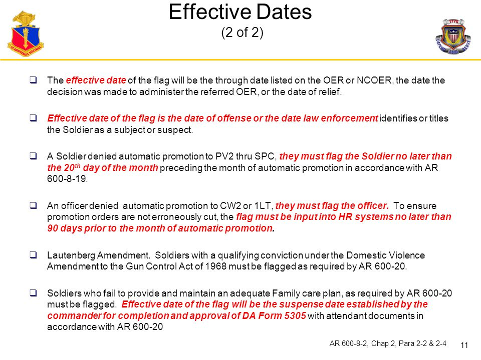 Effective Dates (2 of 2)