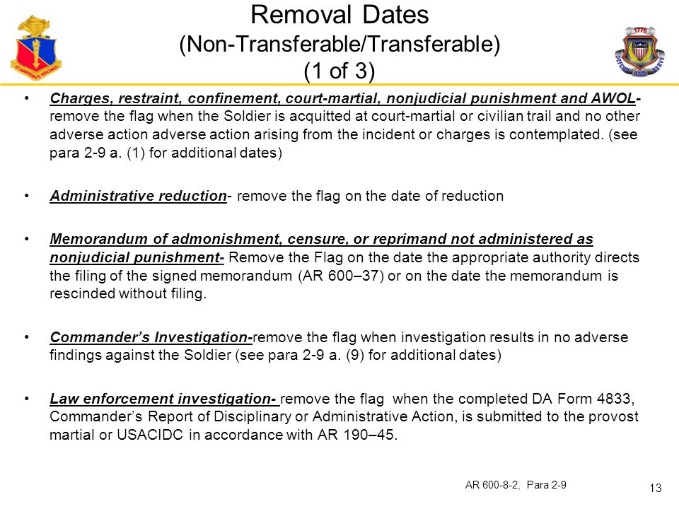 Removal Dates (Non-Transferable/Transferable) (1 of 3)
