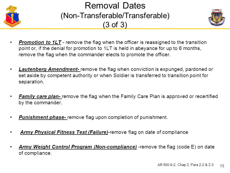 Removal Dates (Non-Transferable/Transferable) (3 of 3)